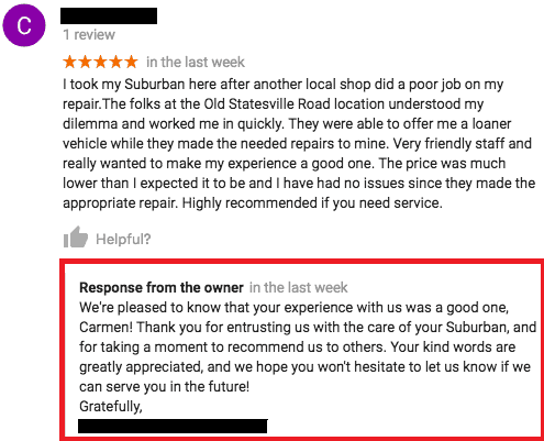 google review response