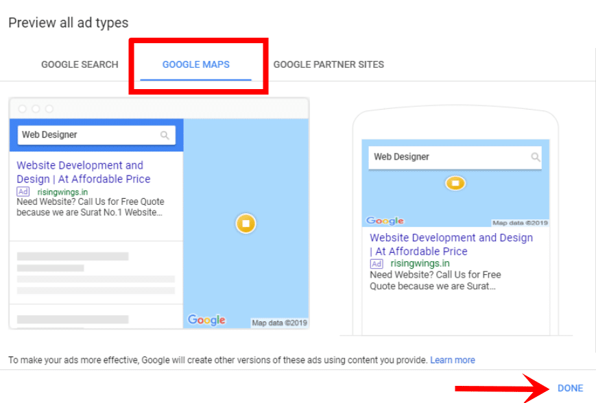 Ad preview in Google map