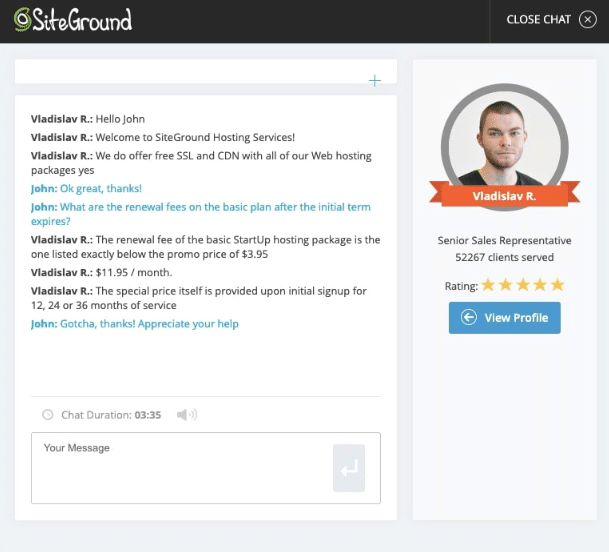 siteground 24/7 customer support