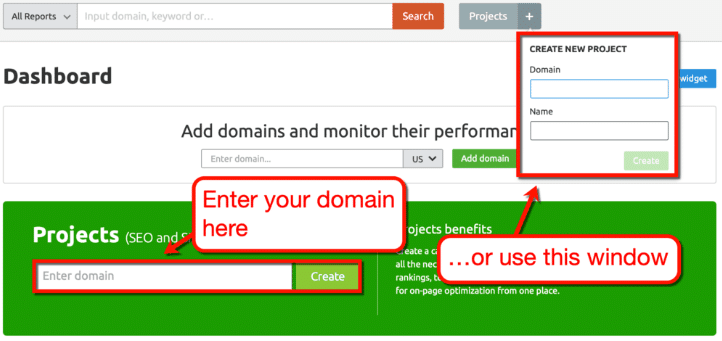 add domain in semrush