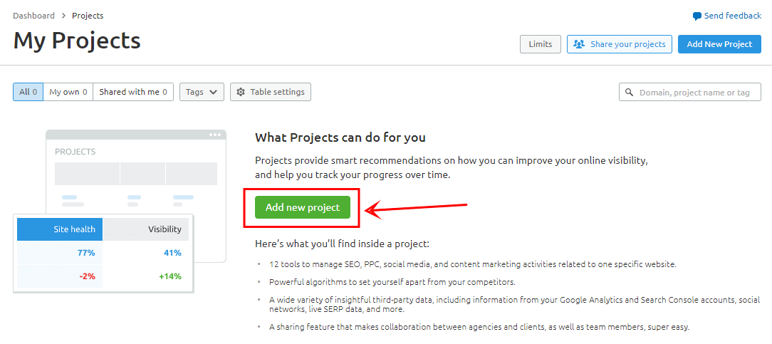 add new projects to SEMrush