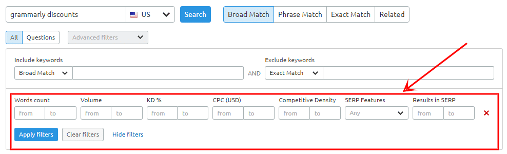 advancved filters of semrush