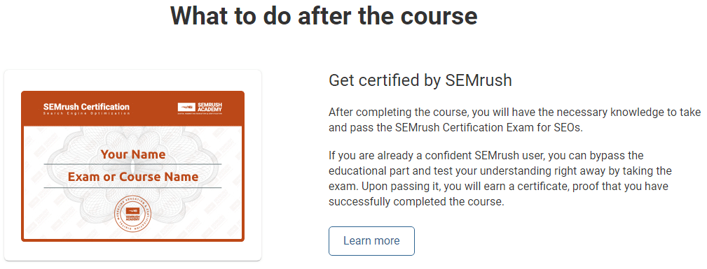 Get certified by SEMrush Academy