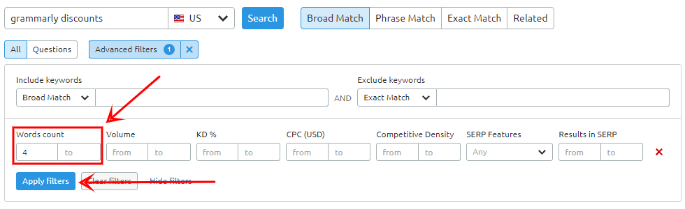 find long tail keywords by using semrush