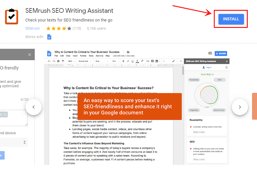 semrush google add-on