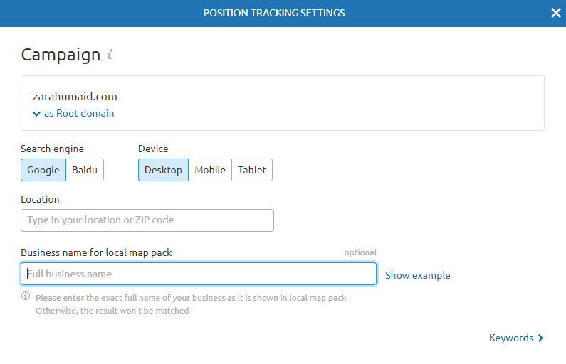 position tracking setting in semrush