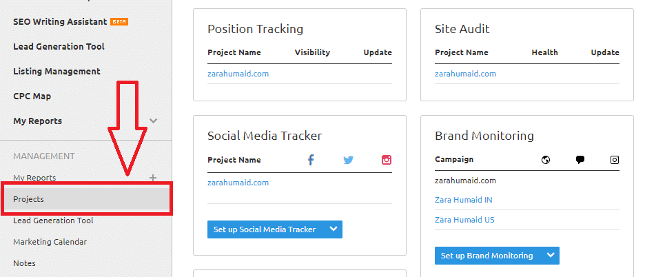 semrush projects management toolkit