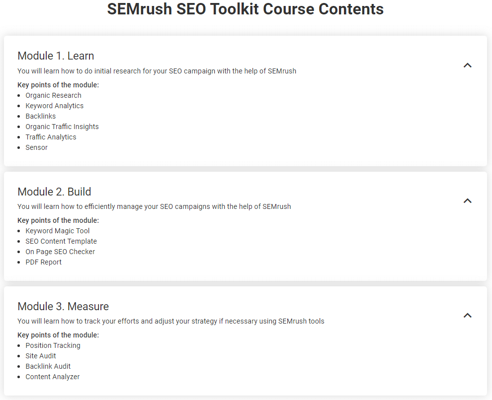 seo toolkit course module