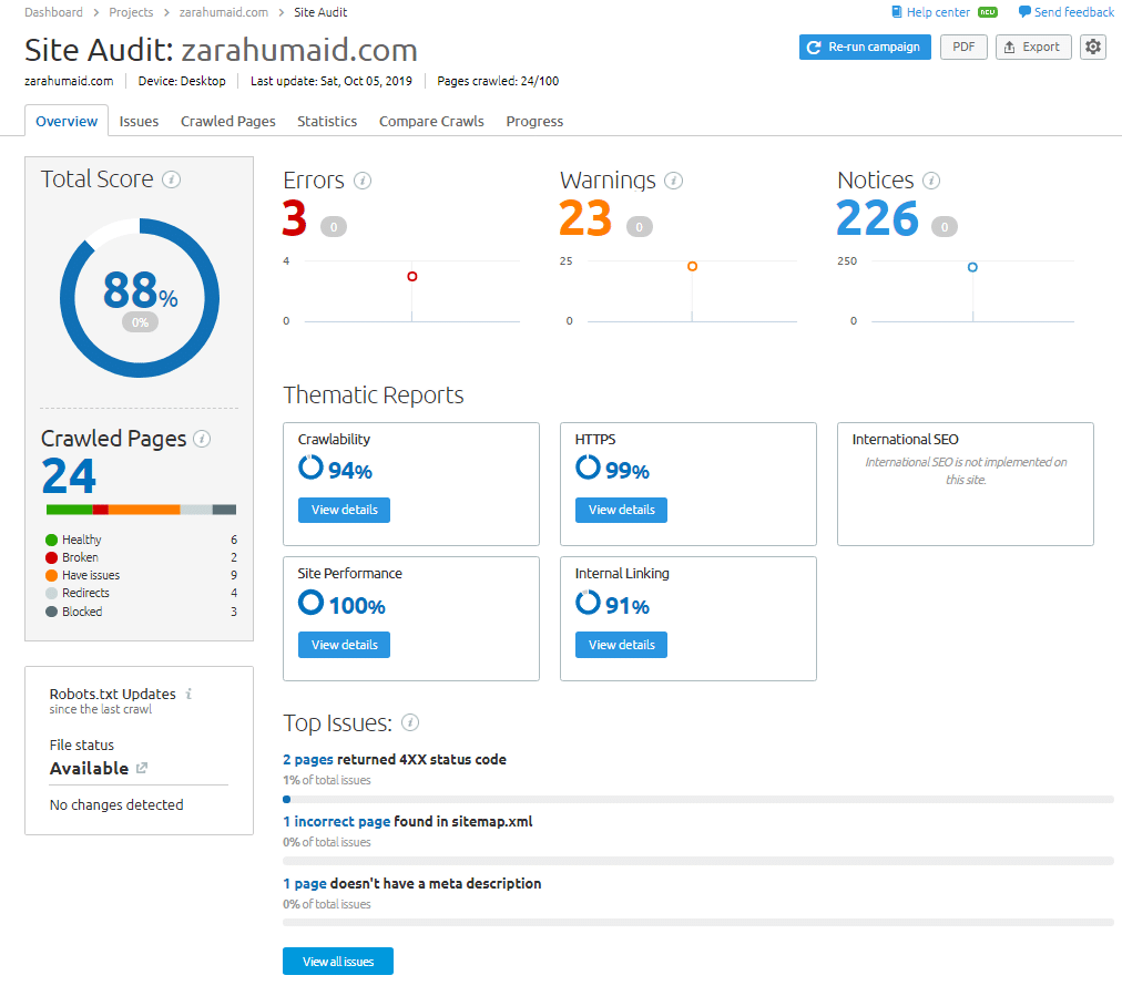 site audit of your website