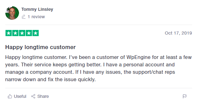user-review-on-Wpengine-hosting